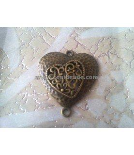 Comprar Colgante y conector corazón doble en bronce de Conideade