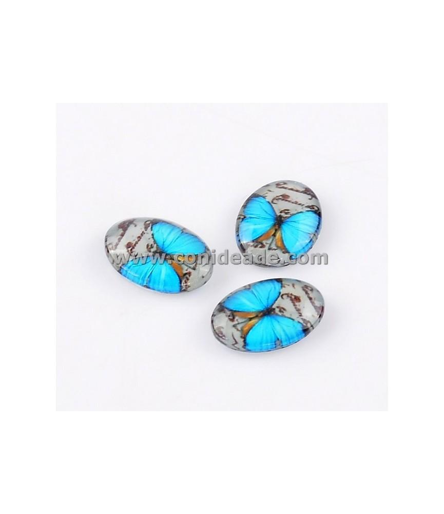 Cabuchon cristal mariposa turquesa 18x13mm