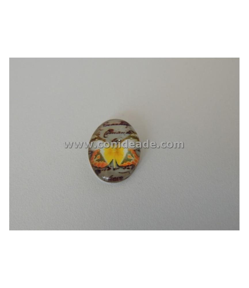 Cabuchonon cristal mariposa amarilla 18x13 mm