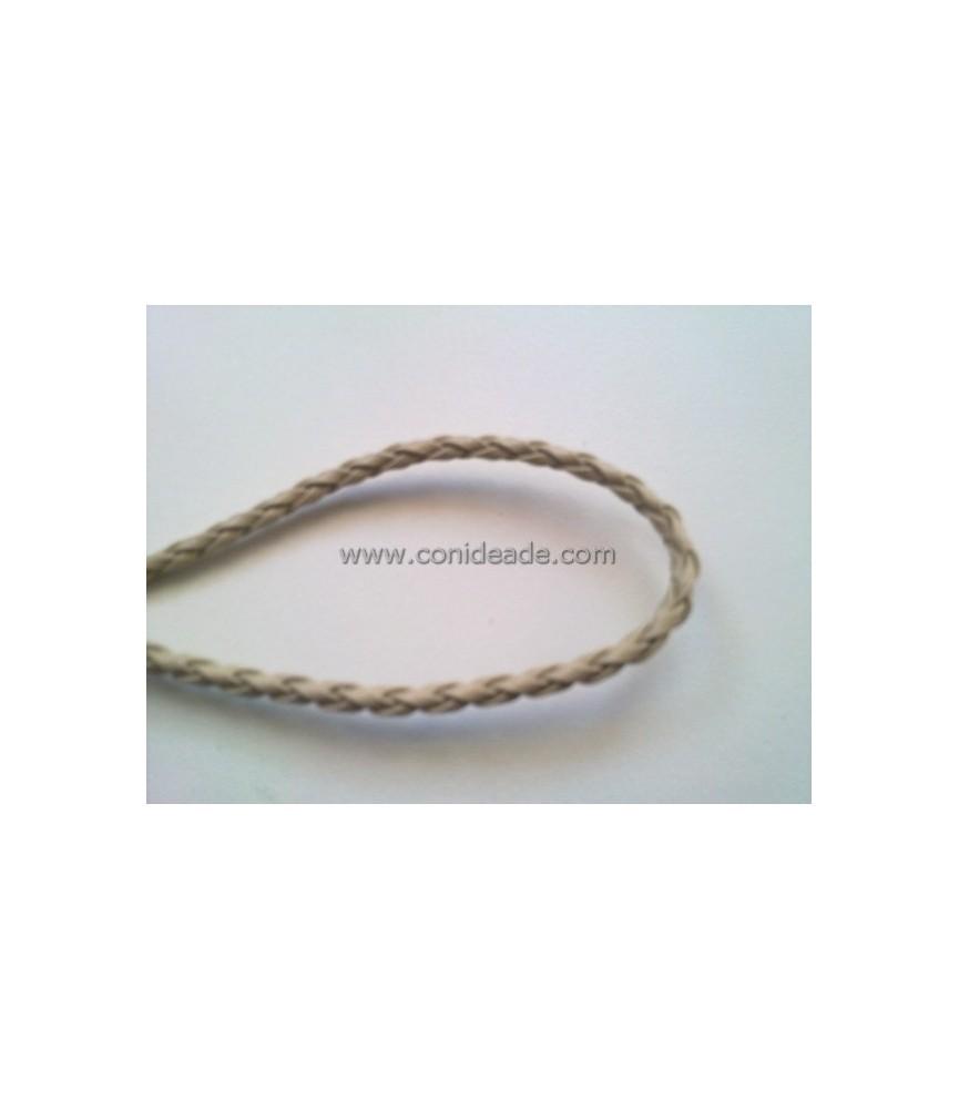 Cordón de cuero trenzado beige 3mm