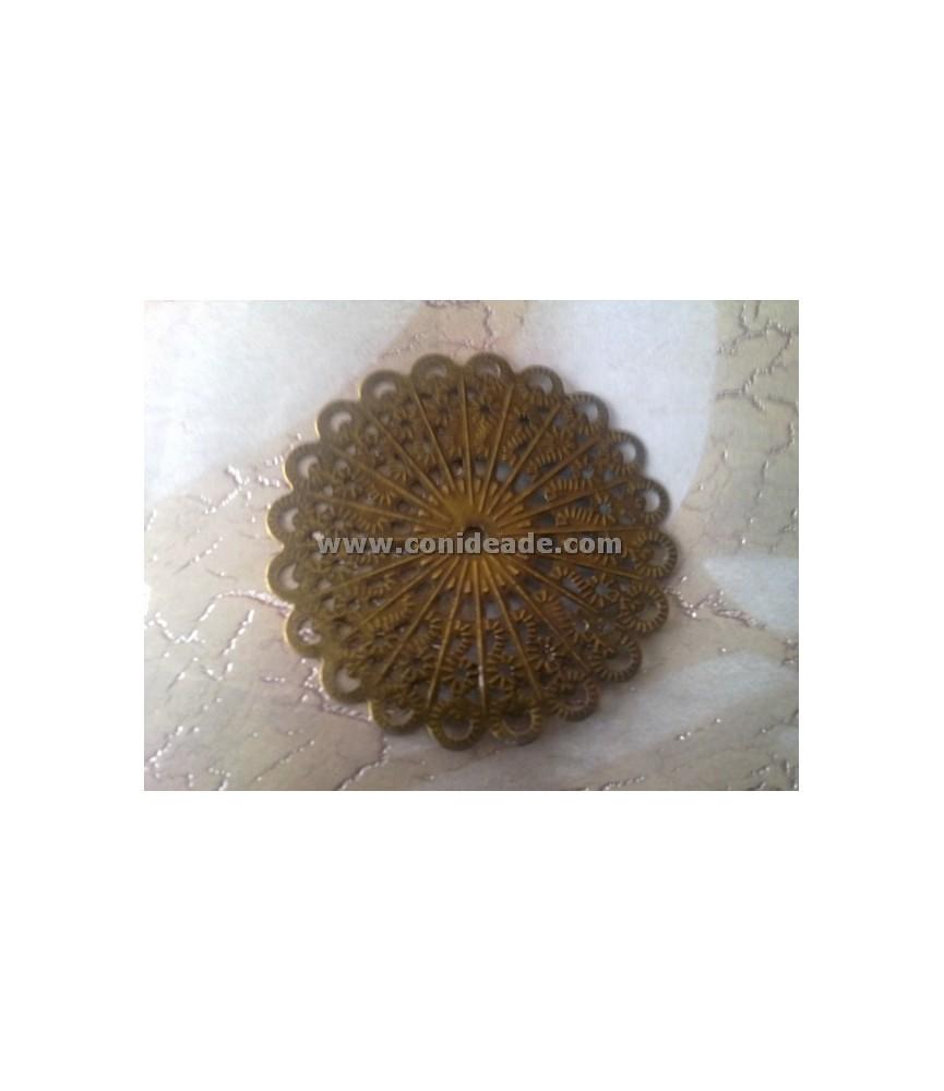Base de filigrana o conector redondo de 5,2 cm
