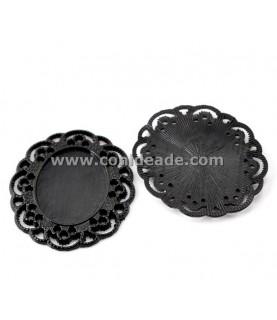 Comprar Base camafeo Filigranas negro 25x18mm de Conideade