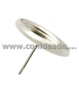 5 Par de pendientes plateado con base para 12mm