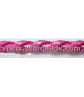 Cordón de cuero trenzado 3mm fucsia