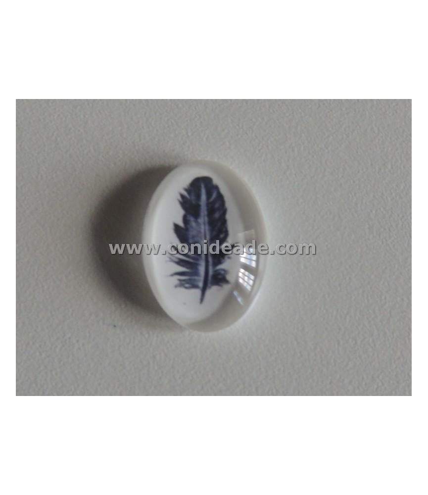 Cabuchón cristal pluma 13x18 mm