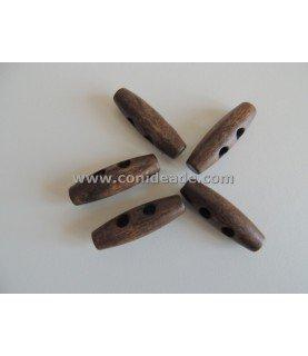 Comprar Pack 5 Botones de madera alargado marron de Conideade