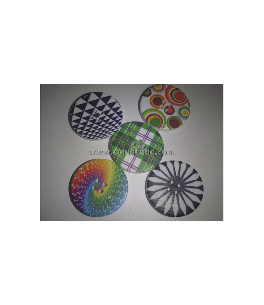 Pack de 5 botones dibujos geometricos