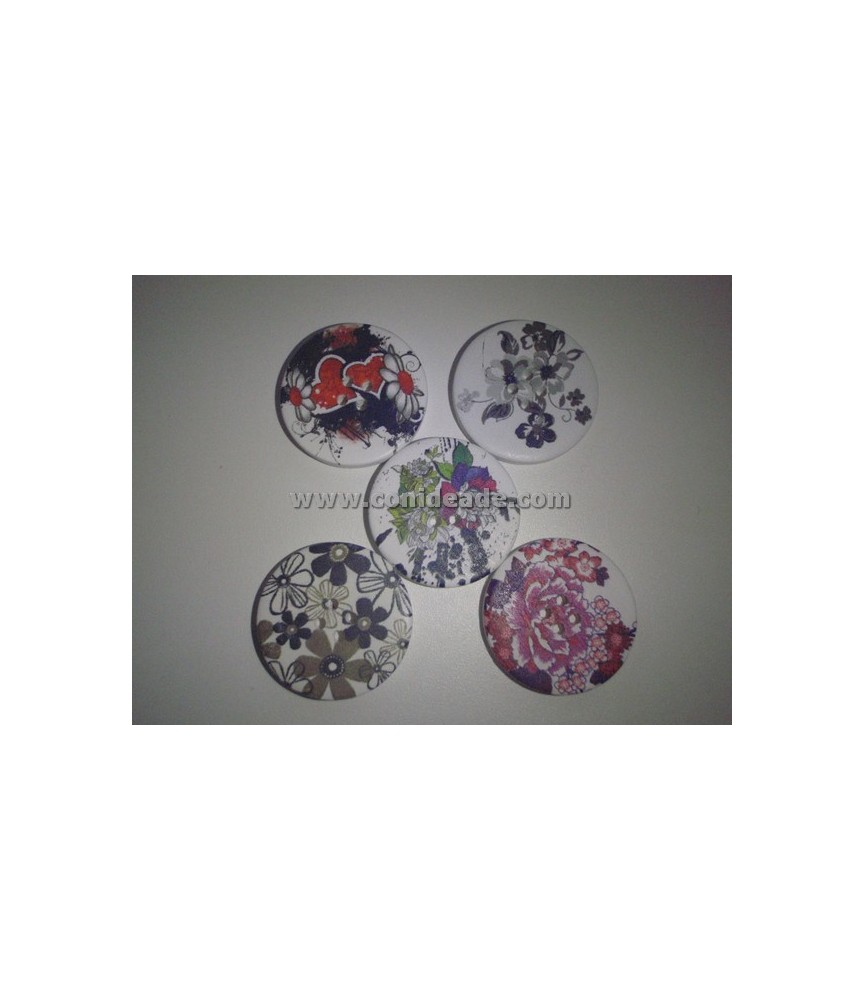 Pack de 5 botones dibujos florales