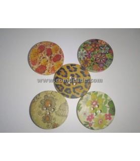 Pack de 5 botones floral vintage
