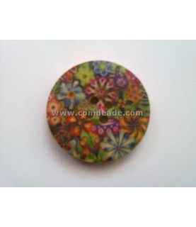 Botones de madera vintage con motivos florales