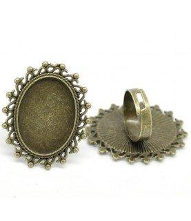 Comprar Anillo ajustable base camafeo ovalada 25x18mm bronce de Conideade