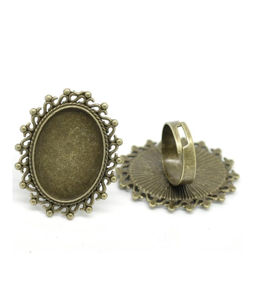 Anillo ajustable base camafeo ovalada 25x18mm bronce