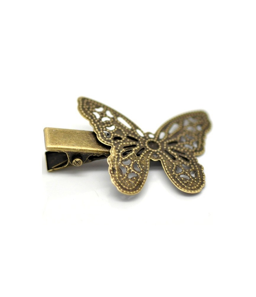 Horquilla de pinza vintage bronce mariposa
