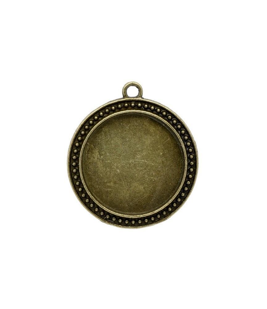 Base de camafeo redondo puntitos bronce