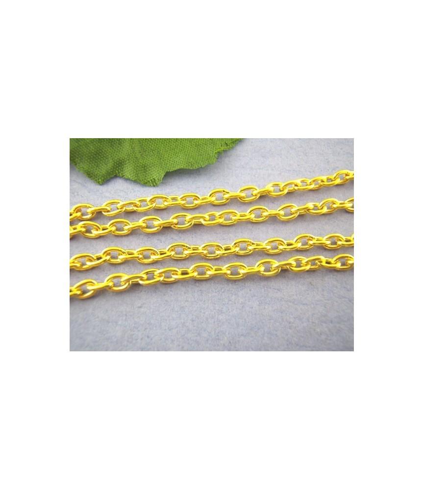 Cadena dorada eslabón redondeado 3x4 mm