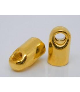Pack de 10 terminales para cordón de 3mm dorados