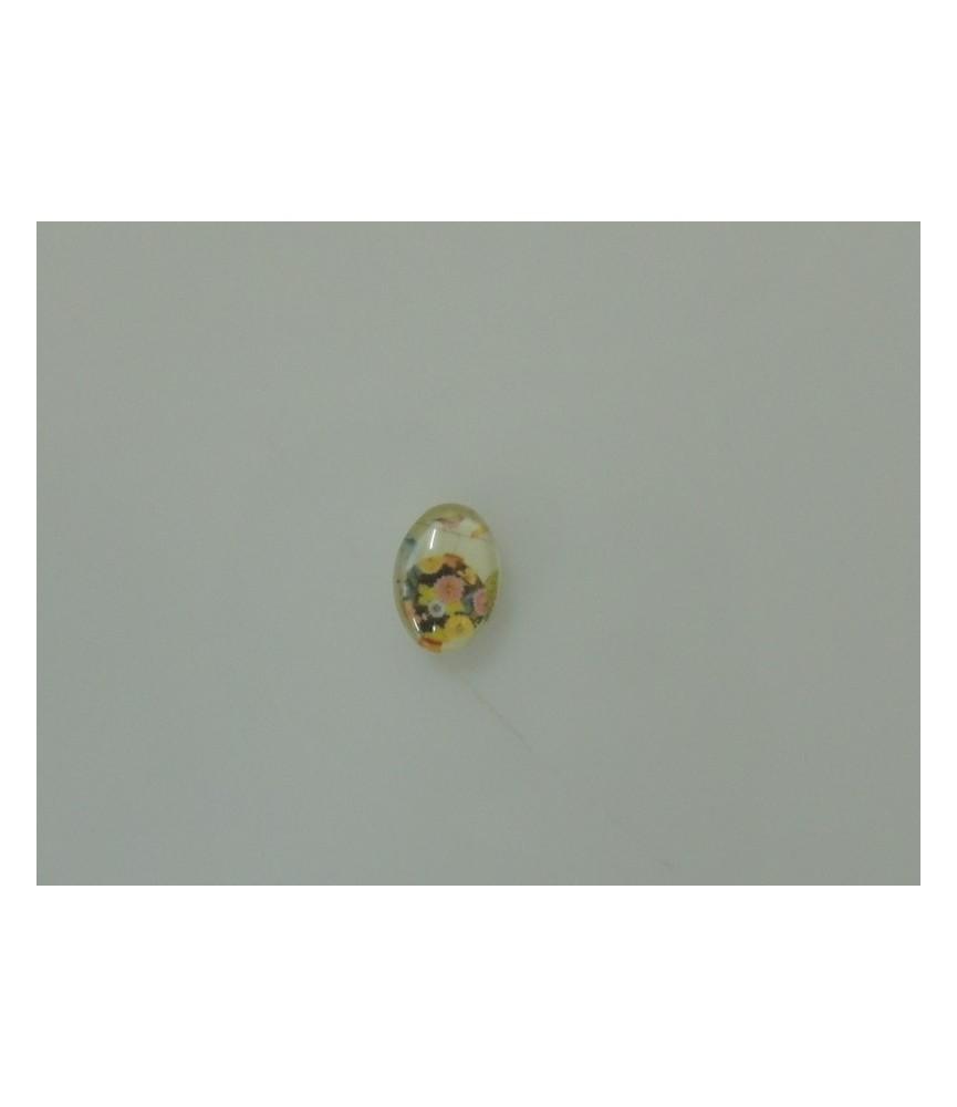 Cabuchon cristal flores pastel 13x18mm