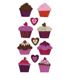 Pack 11 cupcakes de fieltro precosido