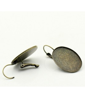 Par de pendientes con base para cabuchon 25x18mm bronce