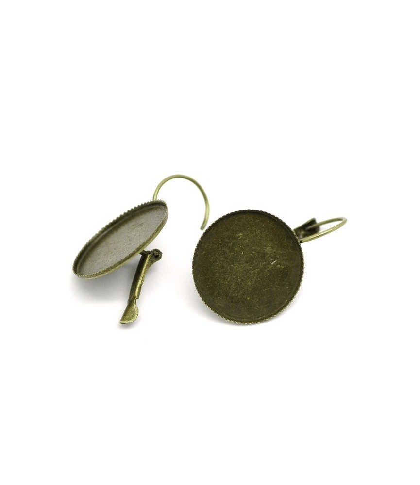 Par de pendientes con base para cabuchon 20mm bronce