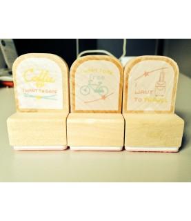 Set de 3 sellos madera Travel