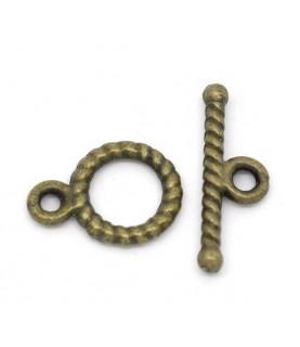 "Imagén: Pack 5 cierres ""cuerda"" 12x9mm bronce"