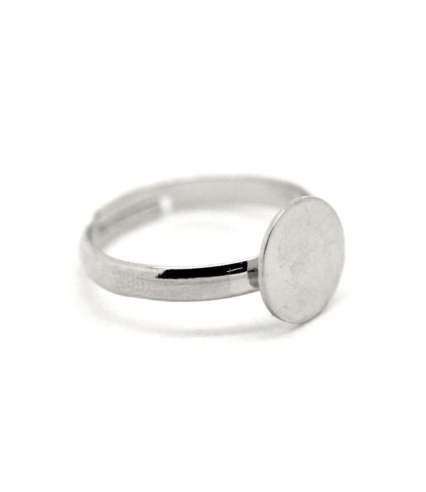 Anillo ajustable plateado con base de 10mm
