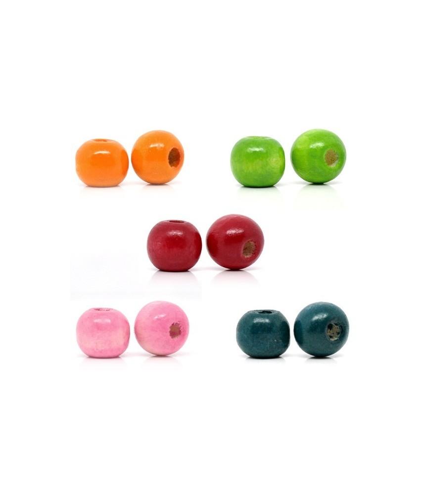 Pack de 10 cuentas de madera de colores