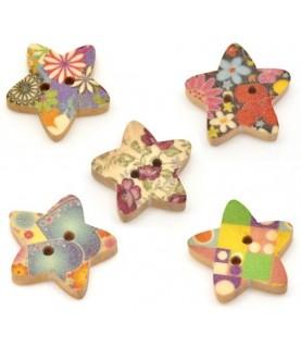 Pack 5 botones de estrellas