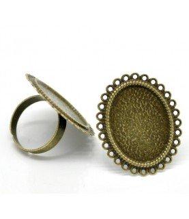Comprar Anillo ajustable base camafeo circulos 25x18 bronce de Conideade