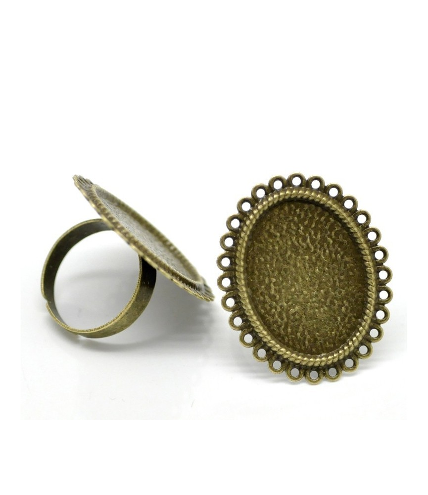 Anillo ajustable base camafeo circulos 25x18 bronce