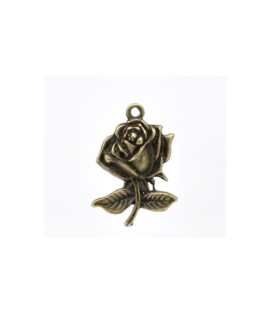 Charm rosa con tallo bronce