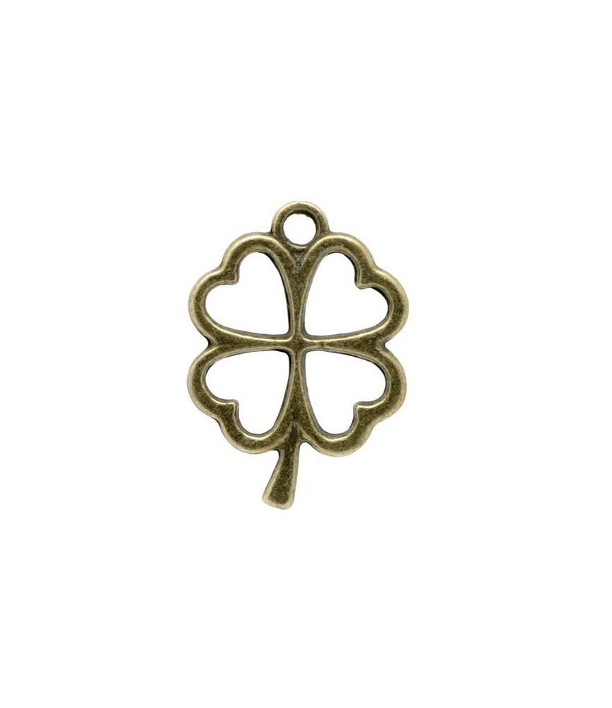 Charm trebol de 4 hojas bronce