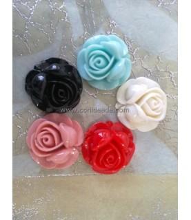 Pack de 5 flores de resina de colores