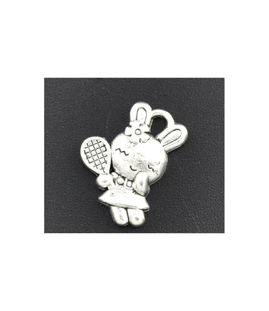 Charm conejita raqueta color plata
