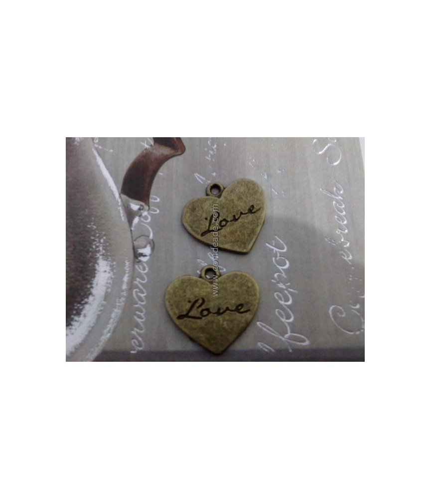 Charm bronce corazon love 21x20mm
