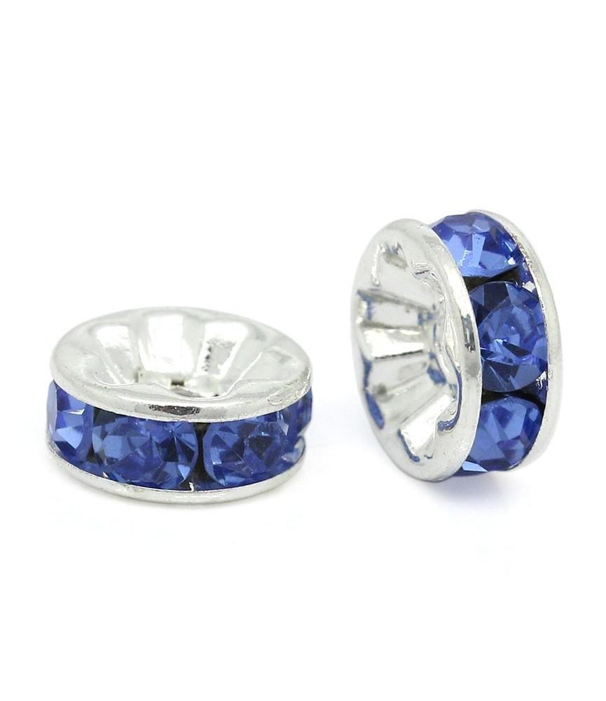 Rocalla plateada con las piedras en azul