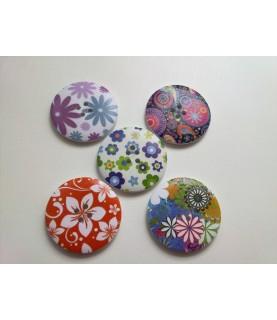 Imagén: Pack 5 botones florales grandes