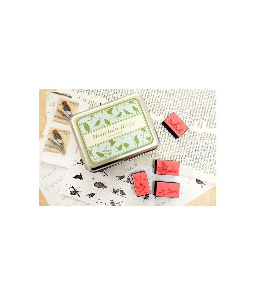 Caja 9 sellos de pajaritos