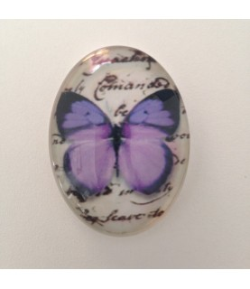 Imagén: Cabuchon cristal mariposa morada 40x30mm