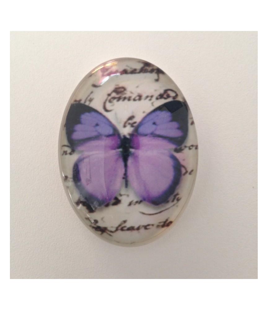 Cabuchon cristal mariposa morada 40x30mm