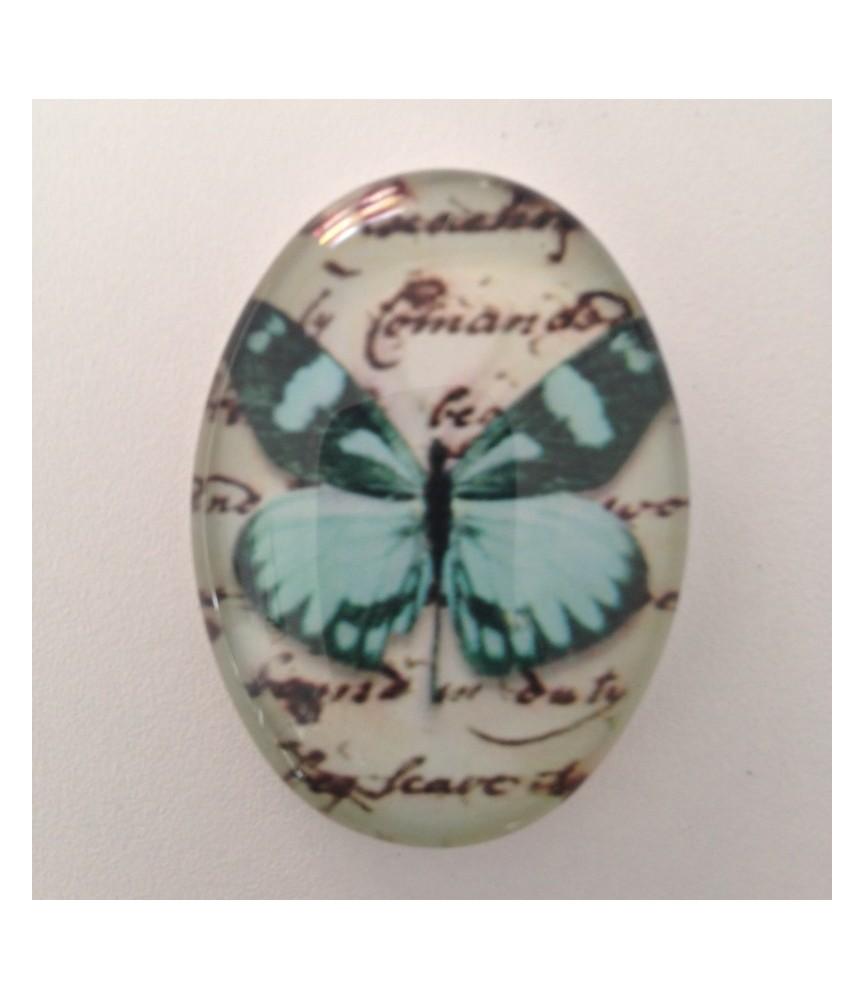 Cabuchon cristal mariposa azul 40x30mm