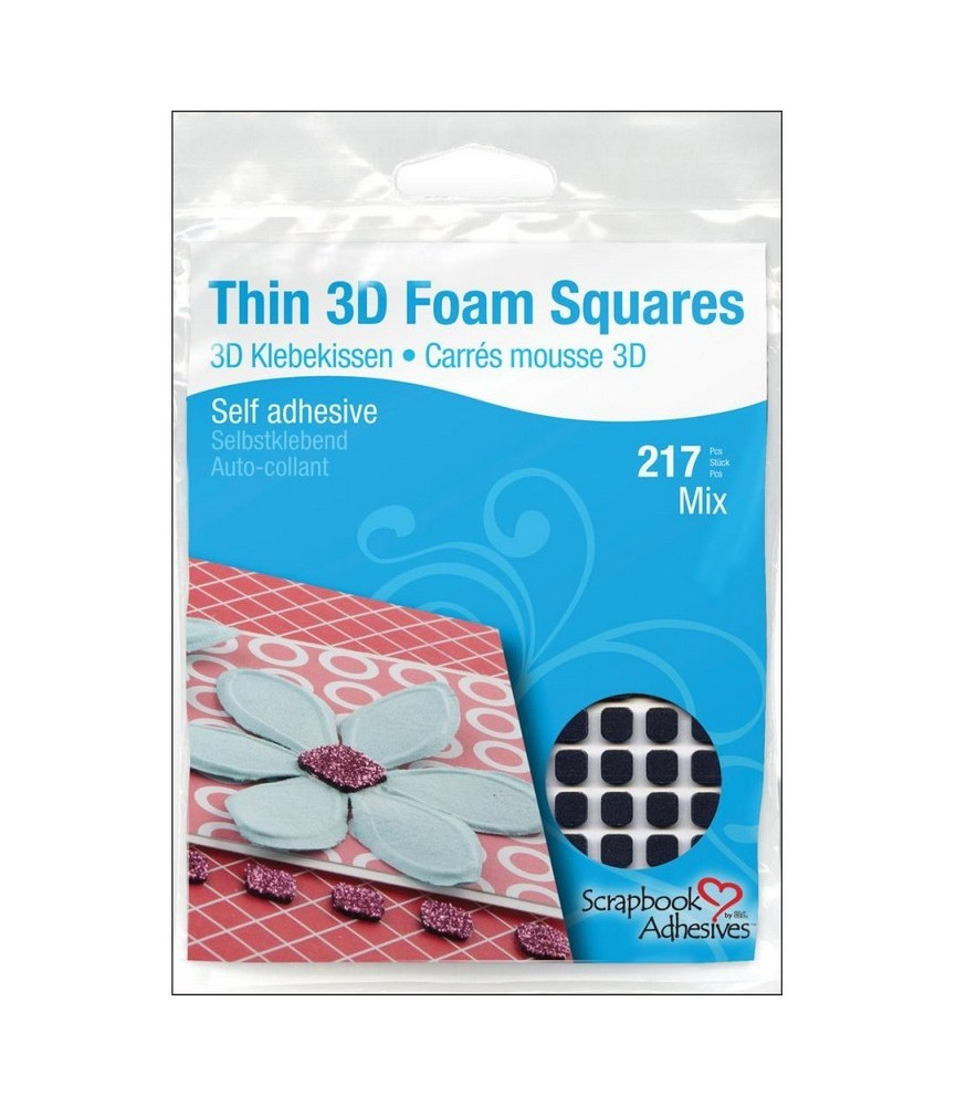 Thin 3D Foam Squares surtido 217 ud negros