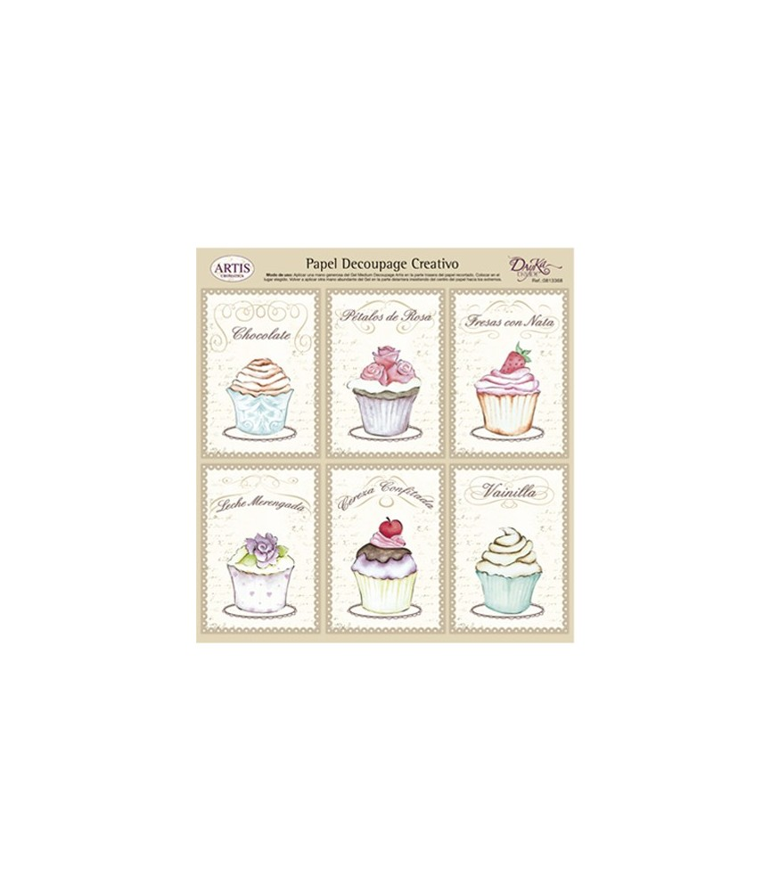 Papel decorativo para pegar mod cupcake