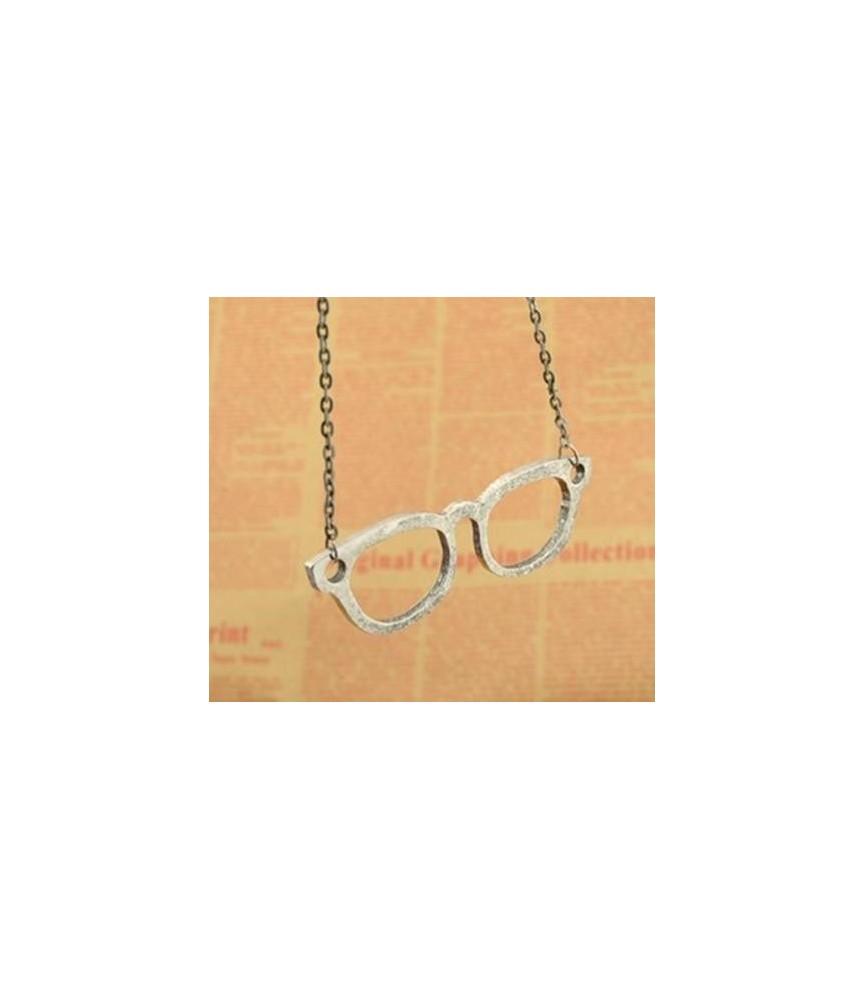 Colgante con cadena gafas de metal