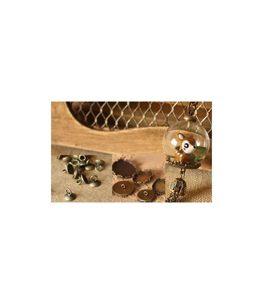 Set base de camafeo colgante esfera de cristal 15mm