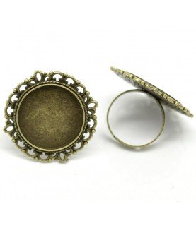 Comprar Anillo ajustable base camafeo 20 mm bronce de Conideade