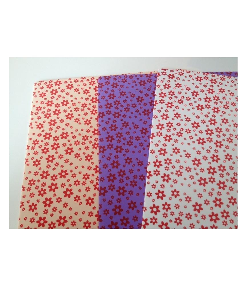 Pack 3 laminas Goma eva estampada de flores A4
