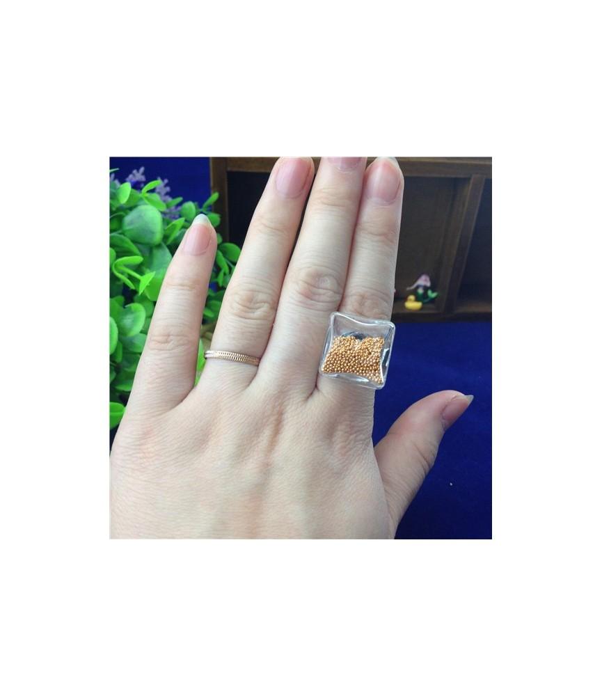 Set anillo con cristal cuadrado de 18mm