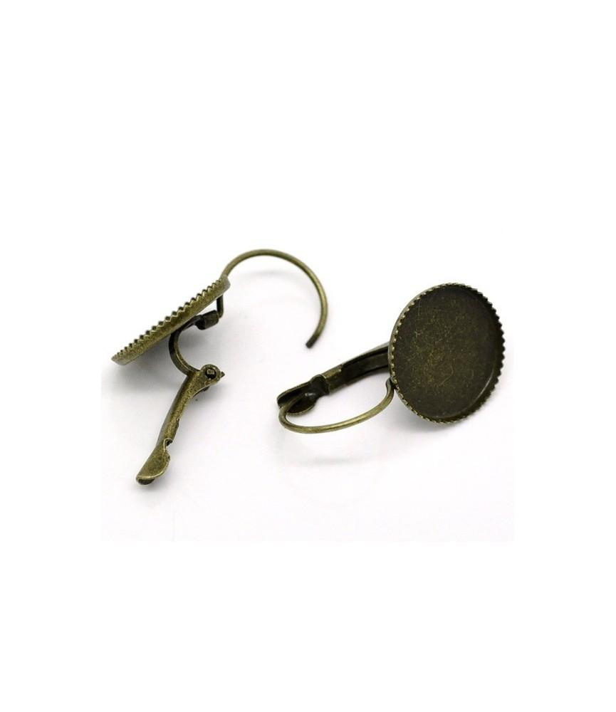 Par de pendientes con base para cabuchon de 14 mm